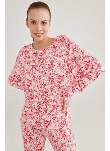 Penti Kadın Pembe Melanj Pink Flowers Sweatshirt PNENT5RA20SK Pembe